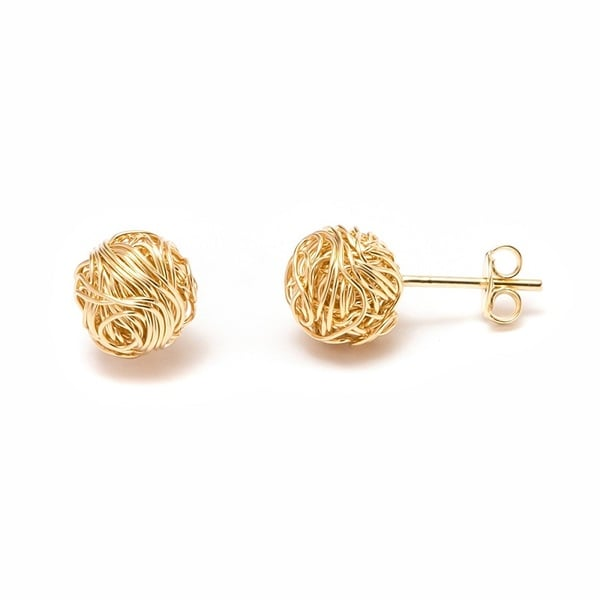 18k Goldplated Natural Shell Double Sided Woven Knot Earrings