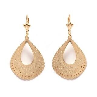 18k Goldplated Cutout Teardrop Drop Earrings