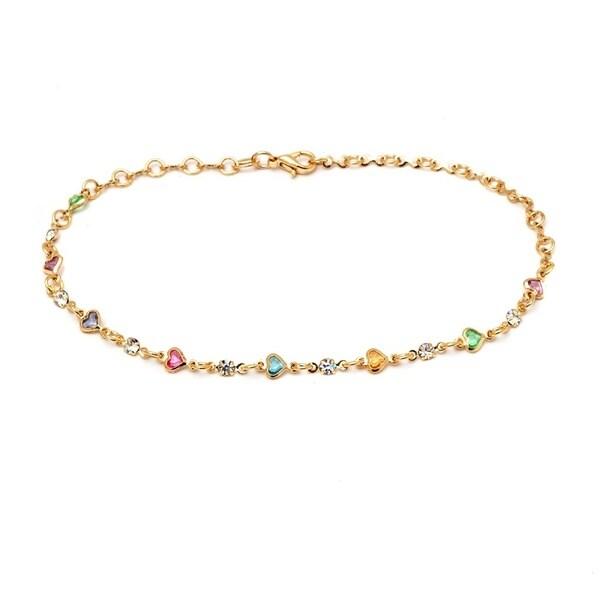 18k Goldplated Multicolor Austrian Crystal Heart Link Anklet Bracelet