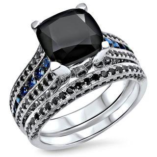 Noori 14k White Gold 4 3/5ct TGW Black Cushion-cut Diamond Blue Sapphire Engagement Ring Set