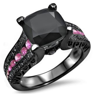 Noori 14k Black Rhodium White Gold 4ct TGW Black Cushion Cut Diamond Pink Sapphire Engagement Ring