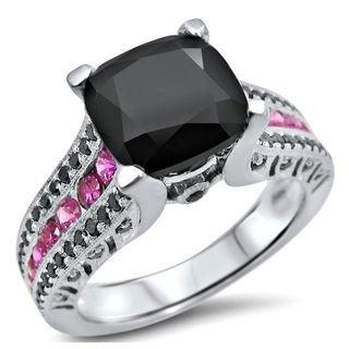 Noori 4ct TGW Black Cushion Cut Diamond Pink Sapphire Engagement Ring 14k White Gold