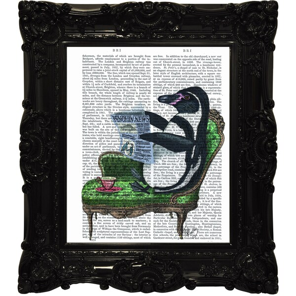 Empire Art 'Read Me a Story' Canvas Giclee Under Glass with High Gloss Baroque Frame