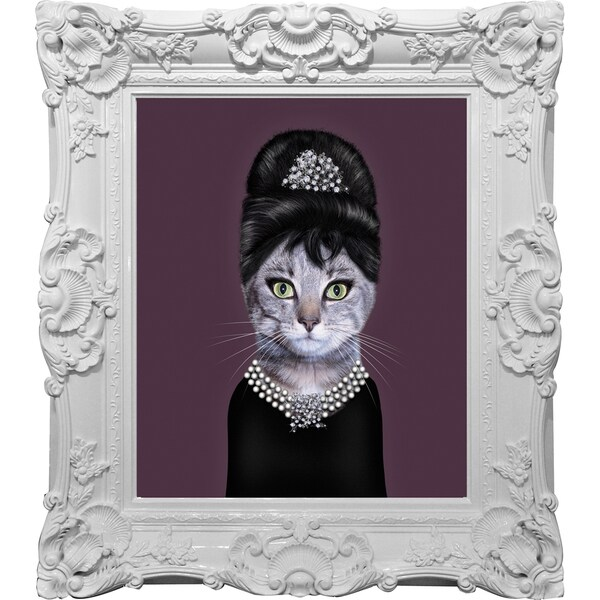 Empire Art Pets Rock 'Breakfast' Canvas Giclee Under Glass With High-gloss Baroque Frame