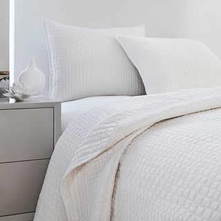 Vince Camuto Solid White Crocodile Quilted Coverlet