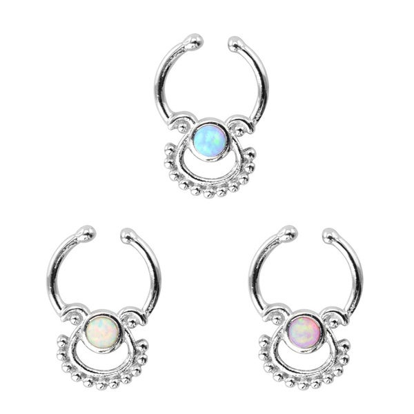 Supreme Jewelry Silvertone Opalite 16-gauge Clip-On Septum Ring (Pack of 3)