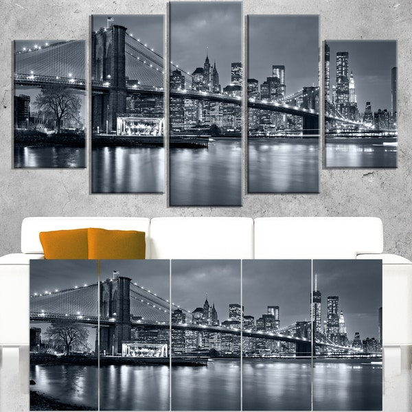 Panorama New York City at Night - Cityscape Canvas print
