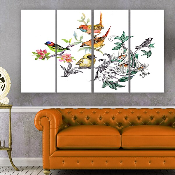 Designart - Tropical Flowers and Birds - Birds Canvas Art Print