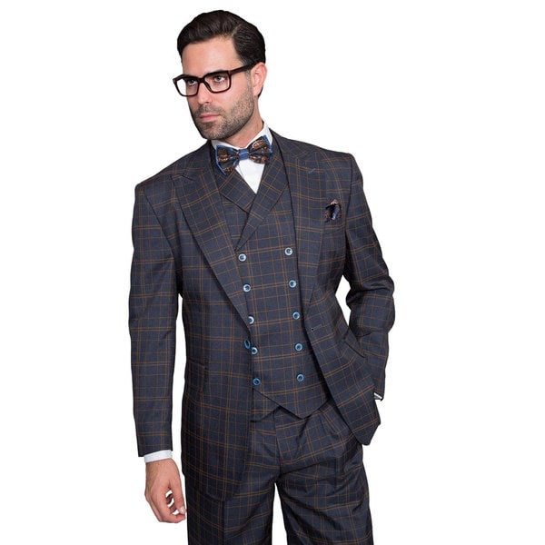 Men's Navy Wool Single-breasted Suit