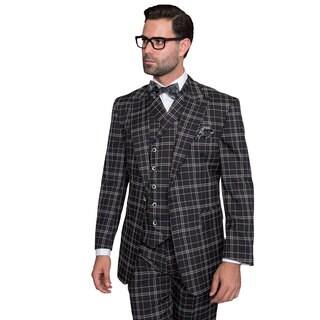 Sorento Men's Black Wool Statement Suit