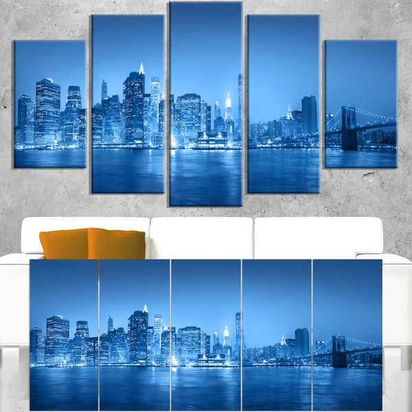 Blue Panorama of New York City - Cityscape Canvas print