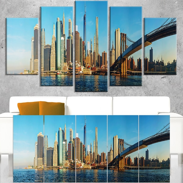 New York City with Brooklyn Bridge - Cityscape Canvas print