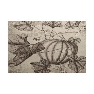 Antique Pumpkin Floral Print Indoor/ Outdoor Rug (5' x 7')