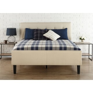 Priage King Size Upholstered Button-Tufted Platform Bed with Wooden Slats