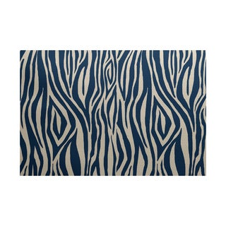 Wood Stripe Geometric Print Indoor/ Outdoor Rug (5' x 7')