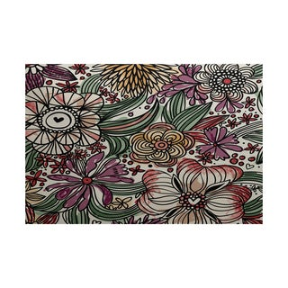 Zentangle Floral Floral Print Indoor/ Outdoor Rug (5' x 7')