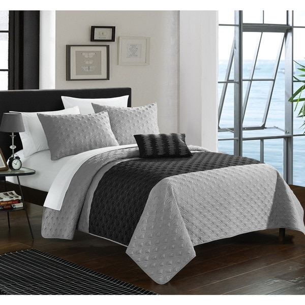 Chic Home Walker Grey 8-Piece Bed in a Bag Quilt Set 19656950