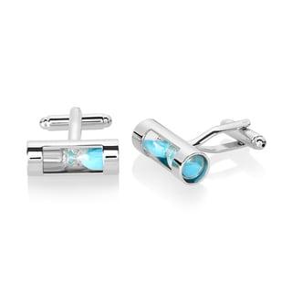 Men's High Polished Silver Tone Hourglass Cufflinks
