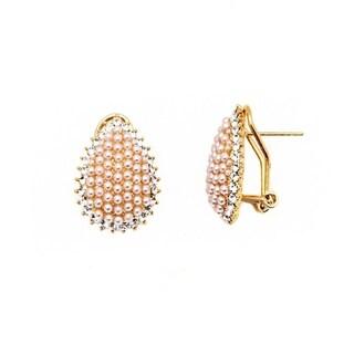 18k Goldplated Rose Pearl and Crystal Teardrop Earrings