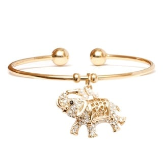 18k Goldplated Natural Shell Pearl and Austrian Crystal Elephant Charm Cuff