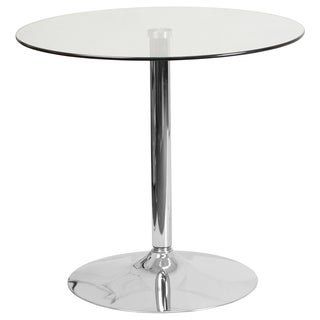 31.5-inch Round Glass Table with 29''H Chrome Base