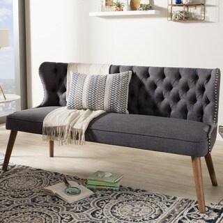Baxton Studio Efthalia Mid Century Modern Upholstered Tufted Sofa