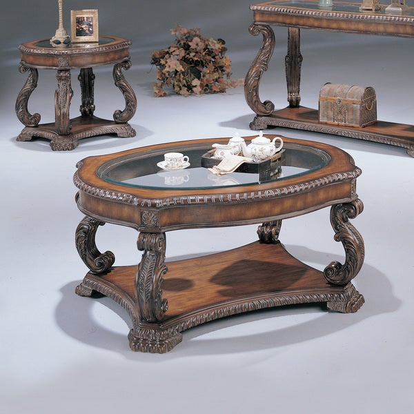 Antiqued Brown Finish Wood With Glass Inlay Ornate Coffee Table