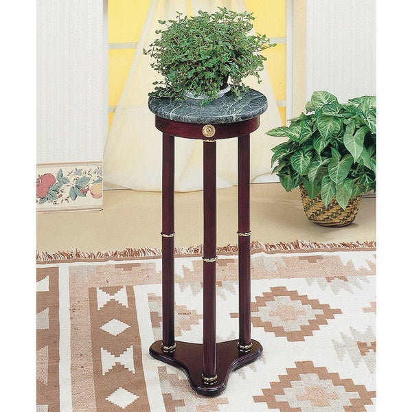 Green Marble Top Cherry Finish Wood Round Plant Stand