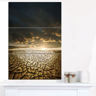 Drought Land under Cloudy Skies - Modern Landscape Wall Art Canvas