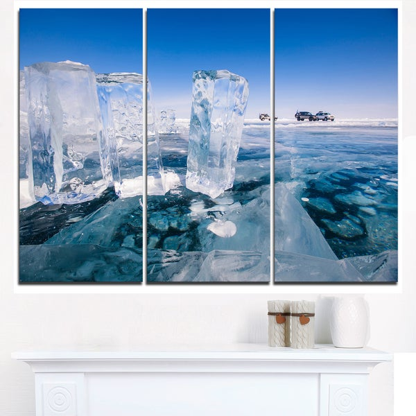 Blue Ice and Off-road Cars - Landscape Artwork Canvas