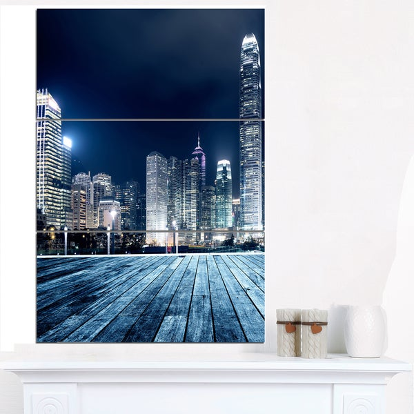 Blue Hong Kong City Skyline - Cityscape Canvas print