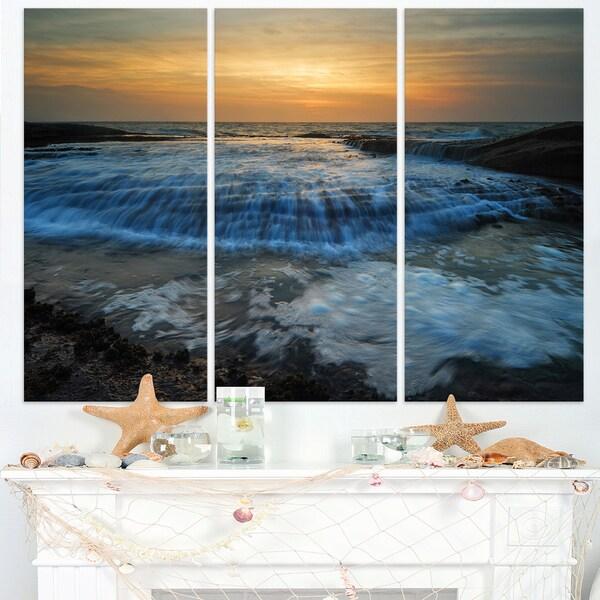 Beach with Rushing White Waves - Modern Beach Canvas Art Print