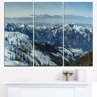 White Ski Slope Panoramic View - Landscape Artwork Canvas