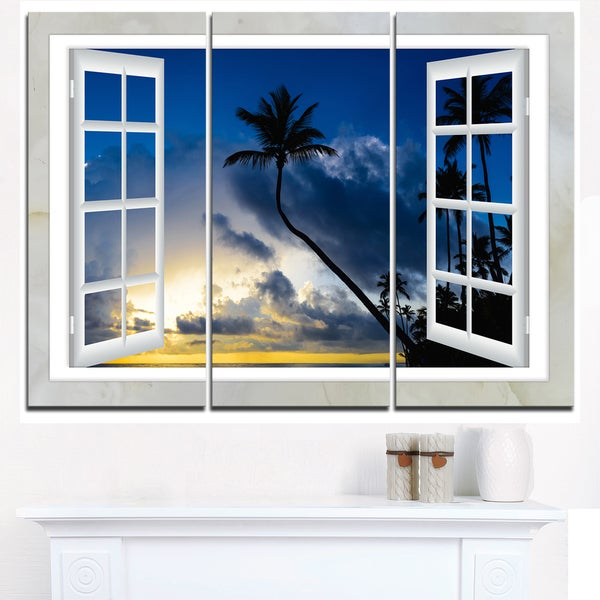 Window to Beach with Coconut Palms - Landscape Art Canvas Print