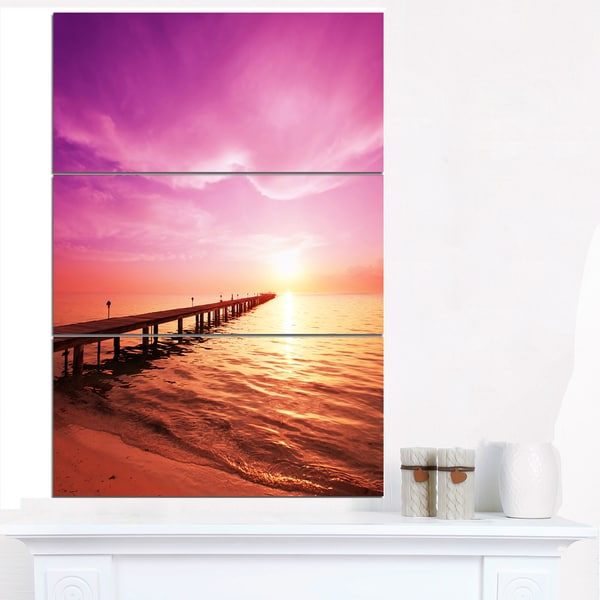 Brown Sea and Pier under Magenta Sky - Large Sea Bridge Canvas Art Print