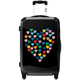 iKase 'Hearts Heart Black' 24-inch Fashion Hardside Spinner Suitcase