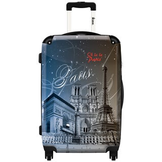 iKase 'Oh la la Paris Eiffel Tower News' 24-inch Fashion Hardside Spinner Suitcase