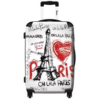 iKase 'Oh la la Paris Eiffel Tower White' 24-inch Fashion Hardside Spinner Suitcase