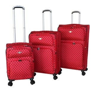 Rivolite Ultra Lightweight Polka Dot 3-piece Spinner Luggage Set