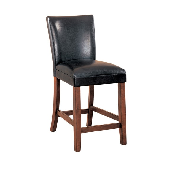 Brown Wood And Faux Leather Counter Height Bar Stool