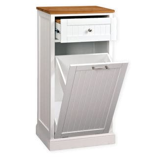 Microwave Kitchen Cart with Hideaway Trash Can Holder