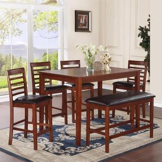 Dorel Living MacCauley 6-piece Walnut Counter Height Dining Set