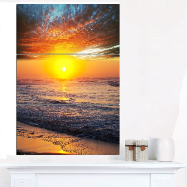 Bright Sunset over Blue Waters - Modern Beach Canvas Art Print