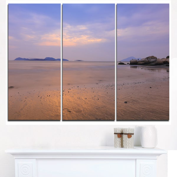 Yellowish Sunset at Lung Kwu Tan Coastline - Landscape Artwork Canvas