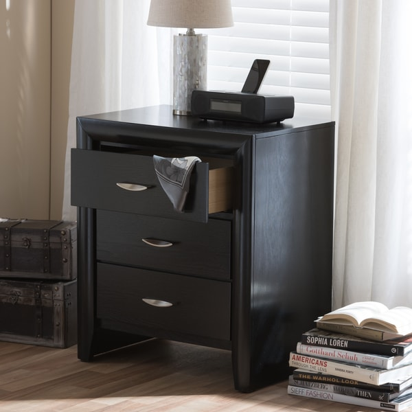 Baxton Studio Kima Modern Contemprorary Black Wood Nightstand