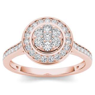 De Couer 10k Rose Gold 1/2ct TDW Diamond Cluster Halo Engagement Ring (H-I,I2)