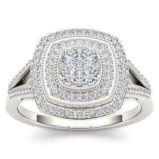 De Couer 10k White Gold 1/2ct TDW Diamond Halo Engagement Ring (H-I,I2)
