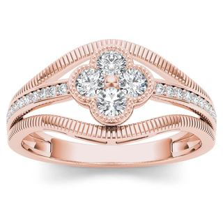 De Couer 10k Rose Gold 1/3ct TDW Diamond Fashion Ring (H-I,I2)
