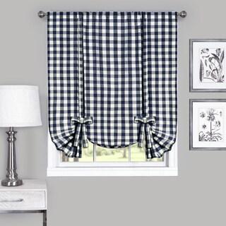 Cotton Blend 63-inch Long Buffalo-check Window Tie-Up Shade