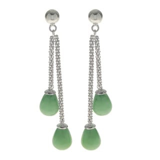 Gems For You Sterling Silver Double Jade Drop Dangle Earrings